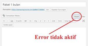 error visual editor wordpress tidak aktif
