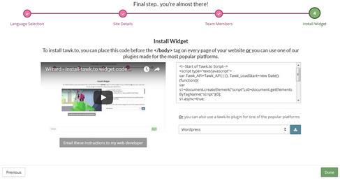 Tawk.to Live Chat Sing Up Creating Widget