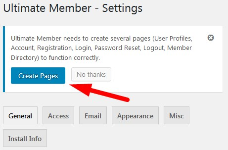 Create Pages Ultimate Member