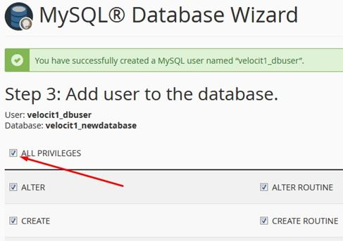 MySQL Database Wizard Create Database User 2