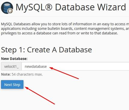 MySQL Database Wizard Create a Database