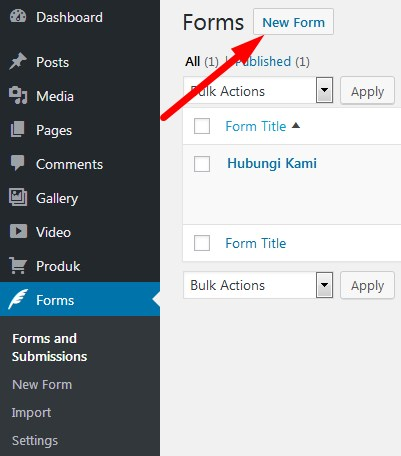 Custom Contact Forms New Form