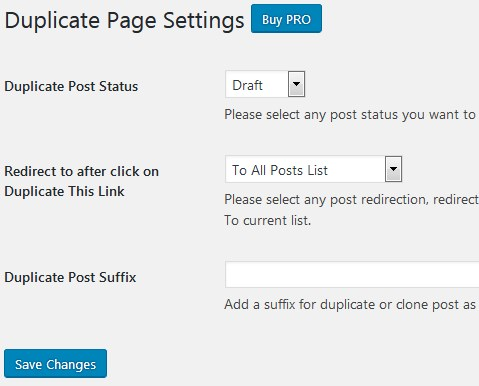 Duplicate Page Settings