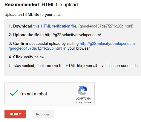 Google Webmaster Tool File Upload