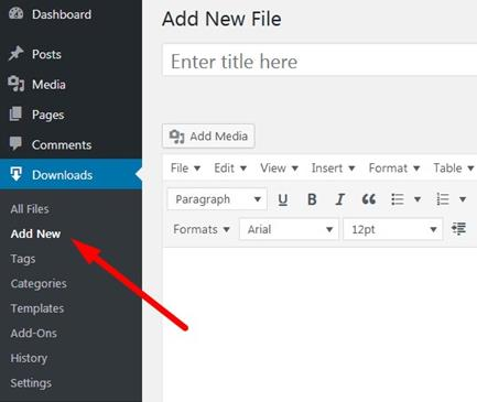 Wordpress Download Manager Add New